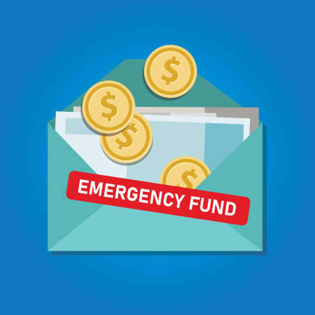 Emergency fund money coins in envelope saved for crisis time condition