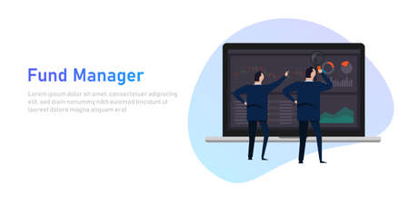 fund manager employee or institution such as a bank, pension fund, or insurance company that manages investment of clients money vector Stock Illustratie