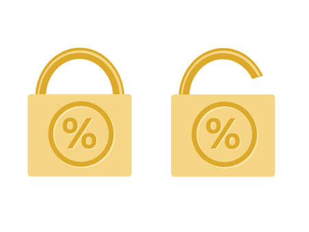 fixed and floating rate icon monetary financial symbol percentage value locked pad vector illustration