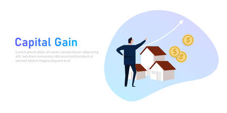 Capital gain business man looking at increased house property. Investment concept illustration