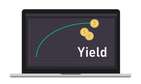 Yield curve shows earnings generated on an investment over a particular period of time. graph and coin money on laptop