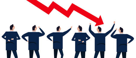Chart down arrow sign of crisis decline drop loss in market stock business and economy. Group of businessman coworker employee in company corporation standing looking. Stock Illustratie