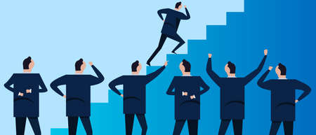Step staircase to success. Group of businessman coworker employee in company corporation standing looking. Concept of team working together