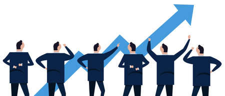 Chart going up arrow sign of rise profit good growth in market stock business economy sales and market. Group of businessman coworker employee in company corporation standing looking.