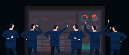 Employee businessman looking together at stock price or forex trading screen monitor with candle stick chart illustration