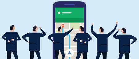 Wireless tracking direction in GPS maps where employee businessman looking together at the phone