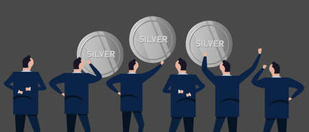 Investor businessman looking together at silver coins concept of precious metal investment in business Stock Illustratie