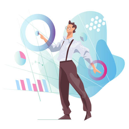 Data scientist looking and interacting with virtual dashboard to analyze data in chart and statictics vector illustration