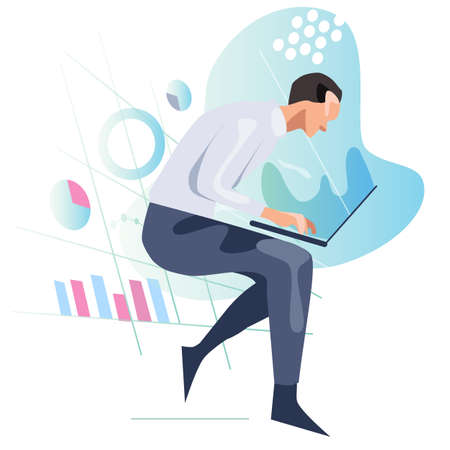 Man looking at laptop screen analyzing data and chart. Concept of statistics information vector illustration