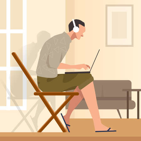 Working from home sitting in chair while looking at the laptop screen and listening to headphones vector