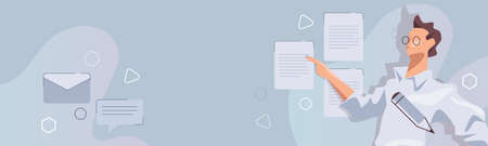 Terms and conditions or privacy policy document concept in website header banner format