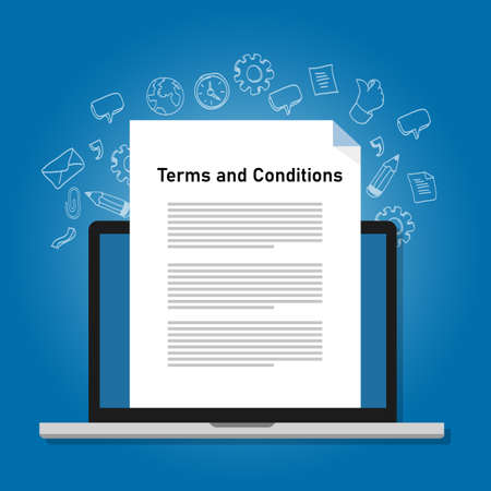 Terms and conditions paper document on laptop screen icon symbol vector