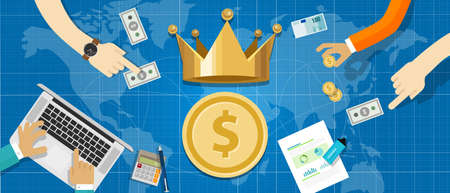 cash is king concept the importance of cash flow in business company transaction world wide vector illustration