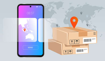 smartphone mobile delivery package concept of modern technology in suppy chain world wide inventory online transaction Çizim