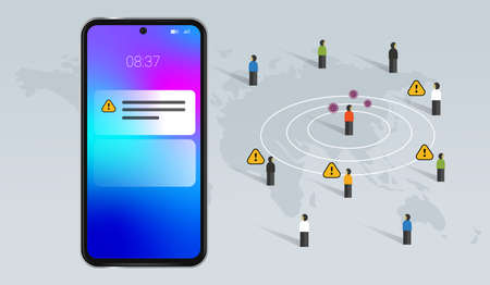 Corona tracking app on smartphone for covid-19 virus alert with mobile technology keep save away from infected people and area Çizim