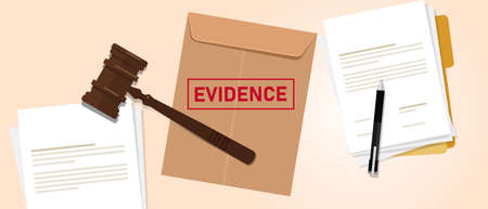 Evidence stamped in brown envelope concept of proof in law justice court