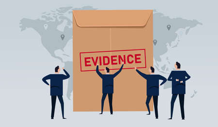 Lawyer looking for evidence stamped in brown envelope concept of proof in law international justice court