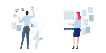Recruitment and headhunting HR process, employment service icons set. Employee hiring selection candidates, career jobs apply metaphors. Vector isolated metaphor illustrations