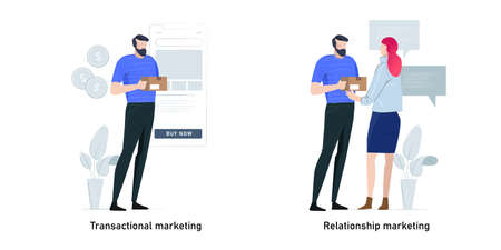 Marketing strategies metaphor concept vector illustration set. Transactional marketing and relationship, customer sales via smartphone and discuss chat with target audience.