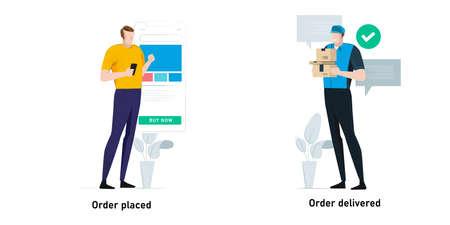 Mobile shopping app, customer e-commerce process set. Order placed, order delivered illustration. Vector concept metaphor illustrations