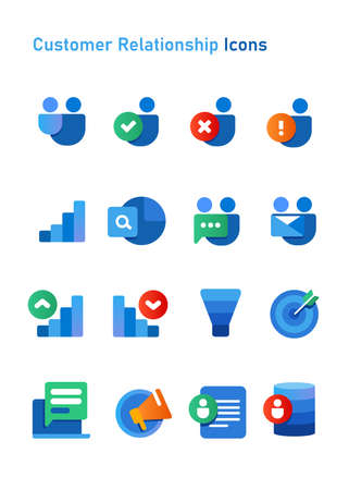 CRM customer relationship icons set collection blue color white isolated background object of funnel marketing vector Çizim
