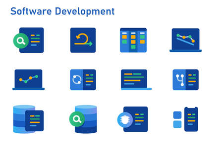 agile methodology software development icon set collection of code programming using sprint kanban board and burn down chart