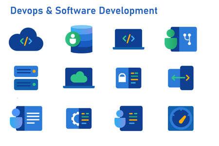 devops software development icon set coding programming cloud computing server repository
