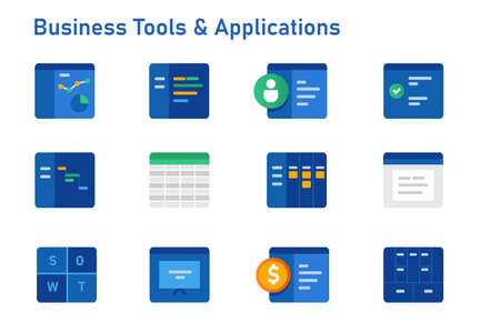 Business tools and software applications icon set collection from accounting financial to corporate analytics business model presentation calendar