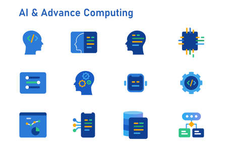 AI Artificial intelligence advance computing icon set collection future head robotic algorithm programming cloud vector Çizim