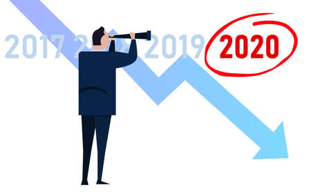 Manager businessman looking at down turn chart in 2020 prediction of economic crisis ahead