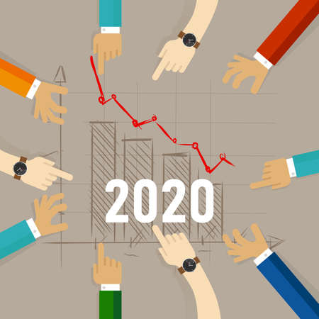 2020 chart going down concept of recession forecast in economics business trade and stock price investment hand pointing at the trend