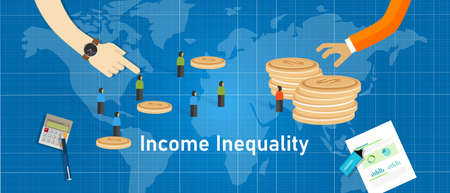 income inequality gap of wealth concept of Gini coefficient index in society economy