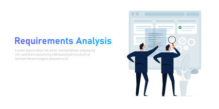 Requirement analysis in business or system development creating software requirement and specification describing user task in document with team Çizim