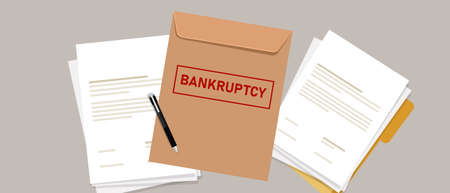 company files for bankruptcy legal law document process debt insolvency during crisis recession Çizim