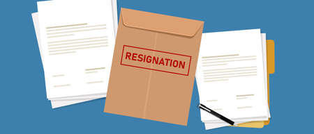 resignation letter paper document quit from job from employed to unemployment lay off