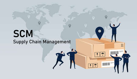 SCM Supply chain management delivery inventory logistic world wide commerce industry Çizim