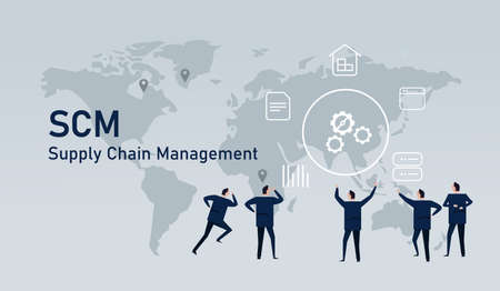 Logistic world wide commerce Supply chain management delivery inventory industry Çizim