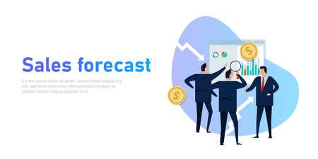 sales forecast businessman present prediction in business with team revenue Çizim