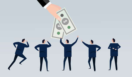 hand holding give money to employee worker for salary bonus motivation cash company wages