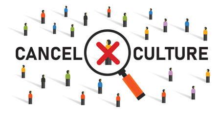 cancel culture community judgement discrimination boycotting censor in politics by crowd cross silenced Çizim