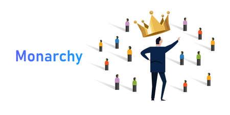 Monarchy form of government with a monarch king at the head crowd of people with leader royalty wearing crown