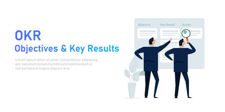 OKR objectives and key results illustration of management implementing strategy task management Çizim