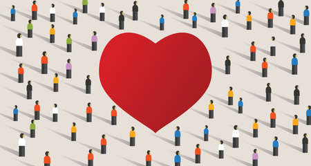 Love red heart shape crowd celebrate feeling of love together as community. Diversity connection group society feeling care.