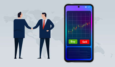 transaction deals buy and sell stocks mobile device smartphone Çizim