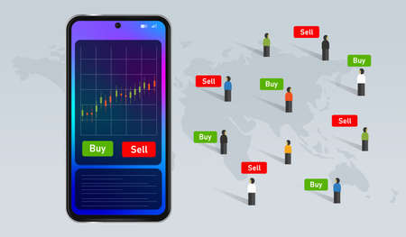 mobile stock buy and sell transaction investment using device smartphone technology