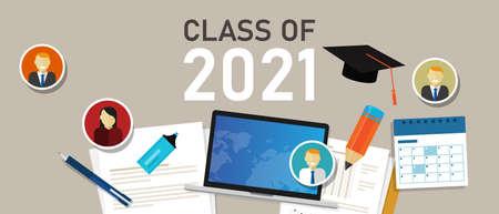 class of 2021 education graduate college icon graphic illustration cap year student university