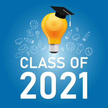 class of 2021 cap and bulb in blue symbol of education graduate college icon graphic illustration student university