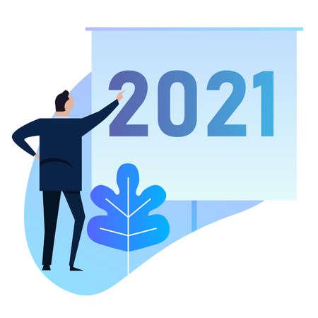 businessman presenting new year target for 2021 business achievement presentation