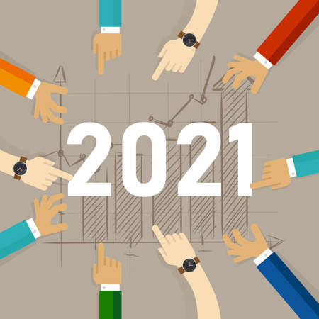 people together pointing at target chart going up in 2021 year working as team
