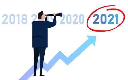 leader businessman vision target looking chart up for 2021 Çizim